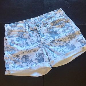 Lucky Brand White and Blue Flowered Cut Offs